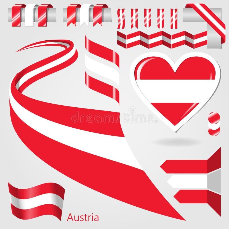 Ensemble de drapeau de vecteur de l'Autriche illustration de vecteur