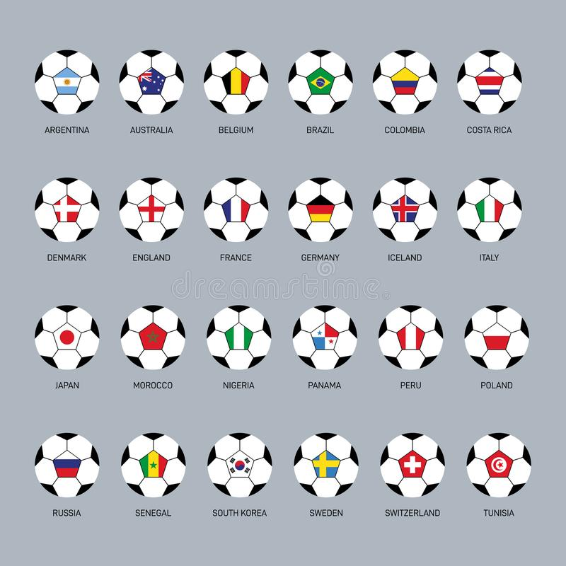 Ensemble de drapeau du monde sur la conception plate d'icône de ballon de football illustration de vecteur