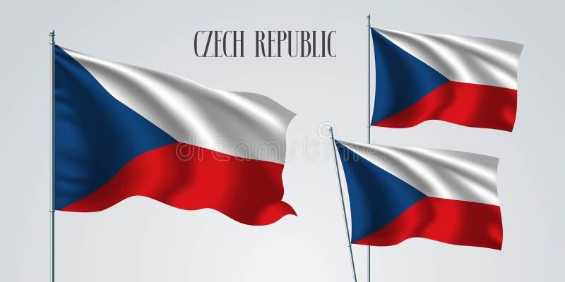 Ensemble de drapeau de République Tchèque d'illustration de vecteur illustration de vecteur