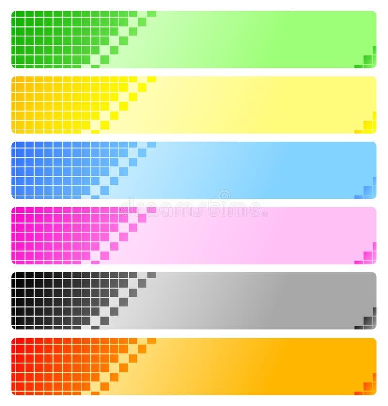 Ensemble de drapeaux abstraits avec des Pixel illustration stock