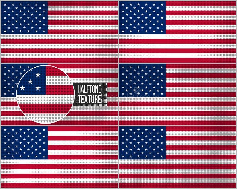 Ensemble de drapeaux américains dans le rétro style sale illustration stock