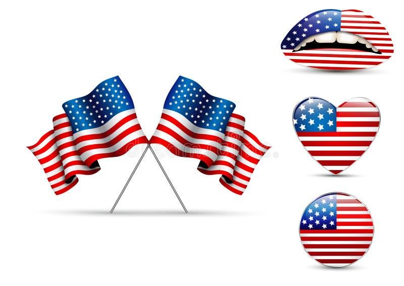 Ensemble de drapeaux américains de différentes formes illustration stock