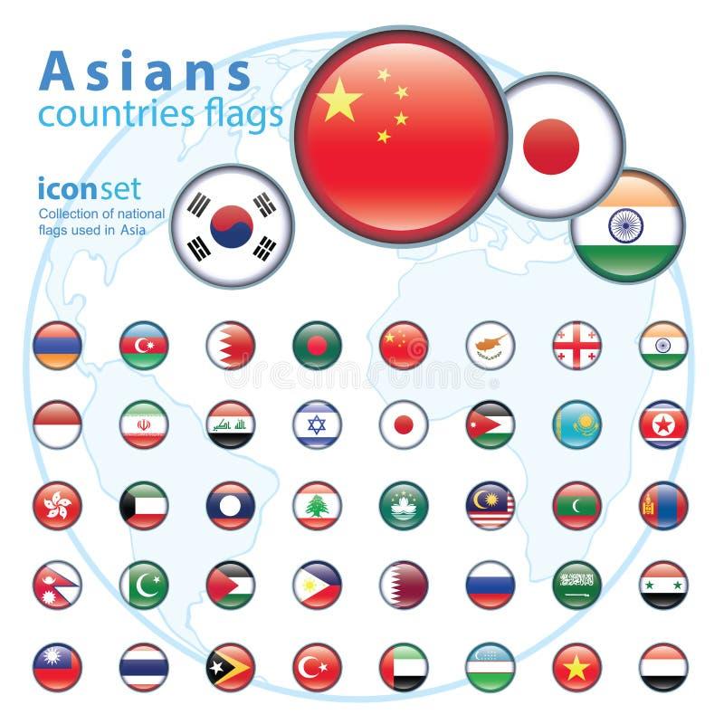 Ensemble de drapeaux asiatiques, illustration de vecteur illustration stock