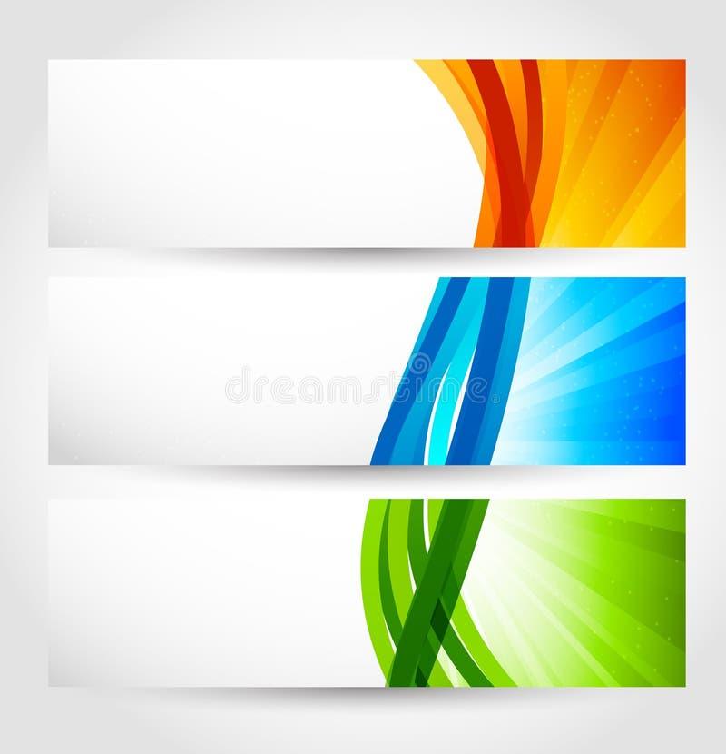 Ensemble de drapeaux avec des rayons illustration stock
