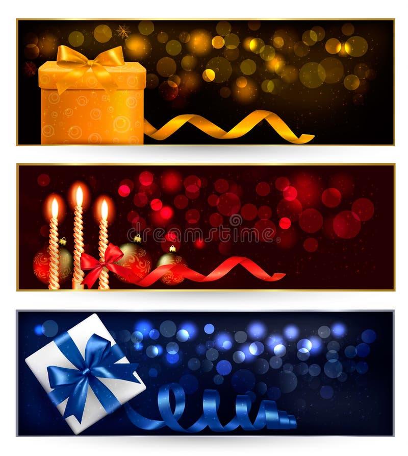 Ensemble de drapeaux de Noël de l'hiver avec des cadres de cadeau illustration stock