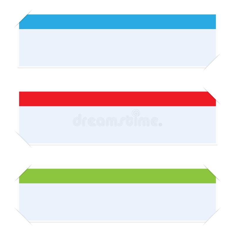 Ensemble de drapeaux de Web avec des coins illustration stock