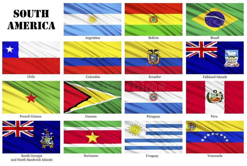 Ensemble de drapeaux des pays sud-américains dans l'ordre alphabétique illustration libre de droits