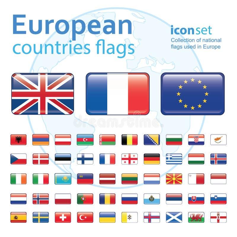 Ensemble de drapeaux européens, illustration de vecteur illustration stock