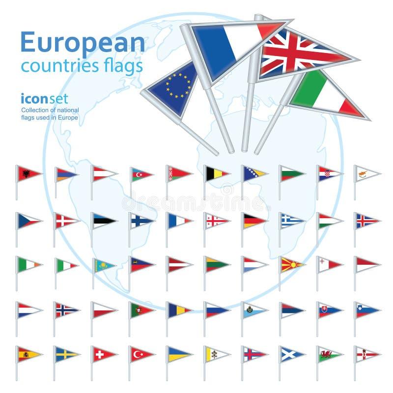 Ensemble de drapeaux européens, illustration de vecteur illustration libre de droits