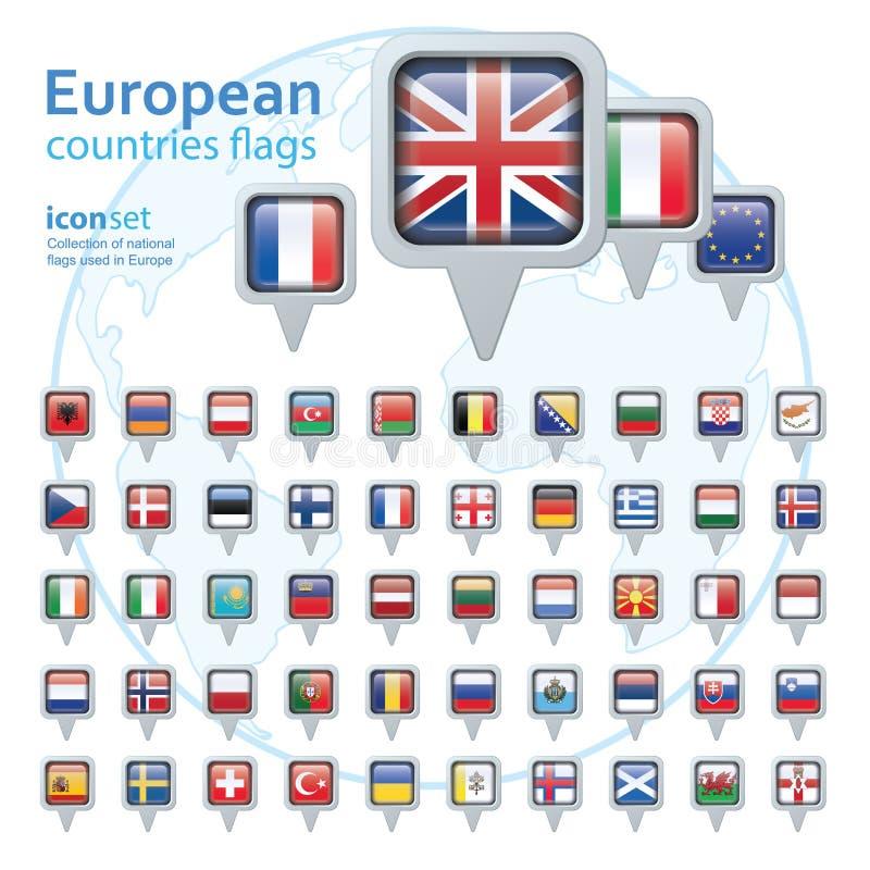 Ensemble de drapeaux européens, illustration de vecteur illustration de vecteur