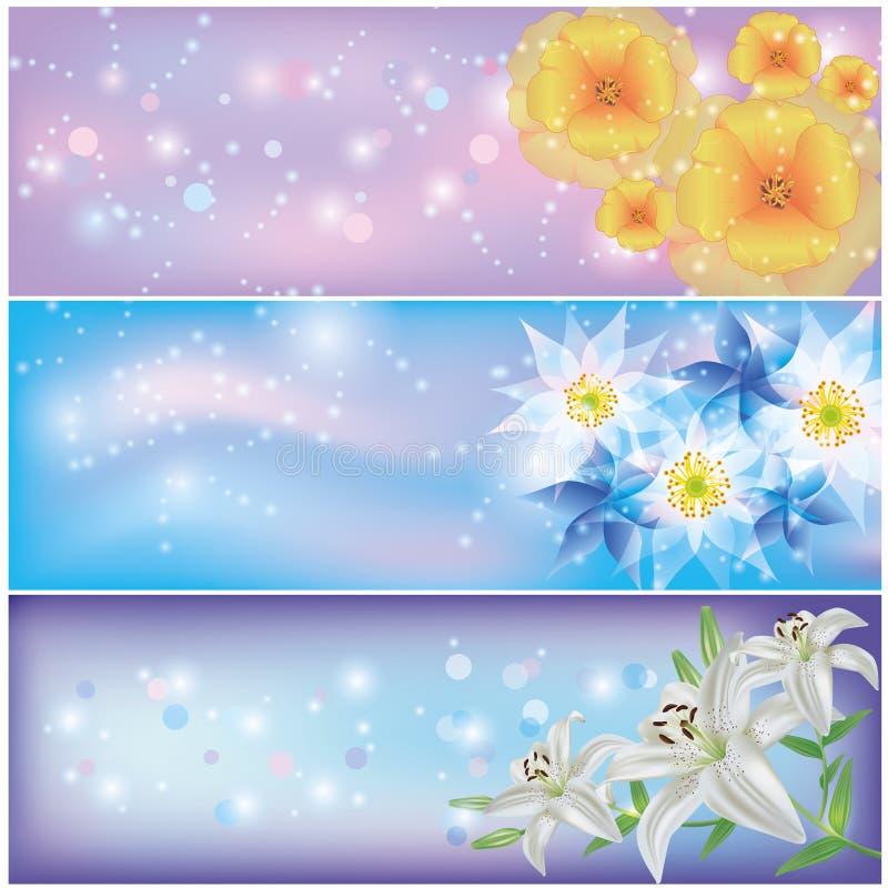 Ensemble de drapeaux floraux horizontaux illustration de vecteur