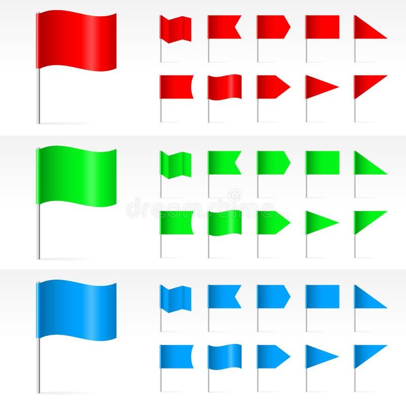 Ensemble de drapeaux simples illustration de vecteur