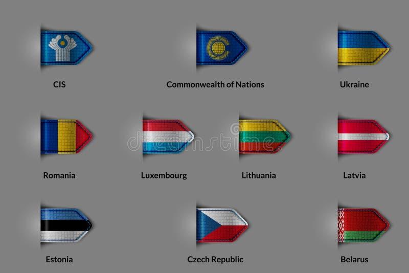 Ensemble de drapeaux sous forme de label ou de repère texturisé brillant CIS Commonwealth des nations Ukraine Roumanie Luxembourg illustration libre de droits