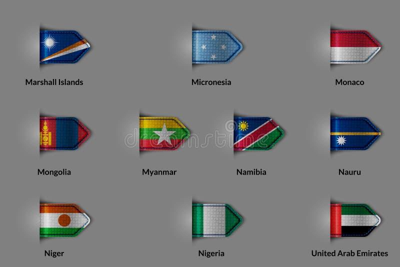 Ensemble de drapeaux sous forme de label ou de repère texturisé brillant Pays Marshall Islands Micronesia Monaco Mongolia Myanmar illustration de vecteur