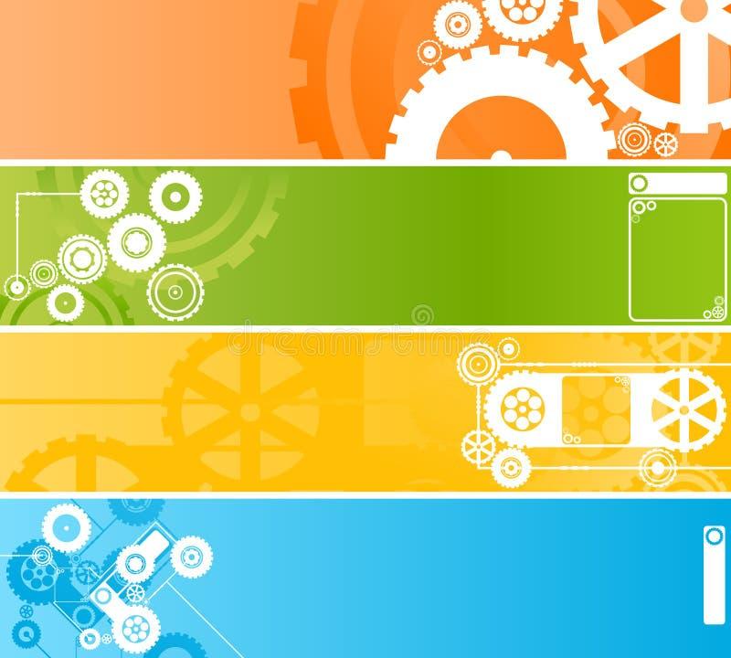 Ensemble de drapeaux technologiques de rouage d'horloge illustration stock