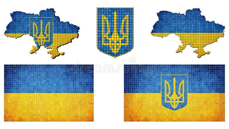 Ensemble de drapeaux Ukraine illustration stock