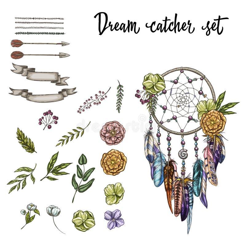 Ensemble de Dreamcatcher fleuri tiré par la main, de fleurs et de divers éléments de conception d'isolement sur le fond blanc Ill illustration de vecteur