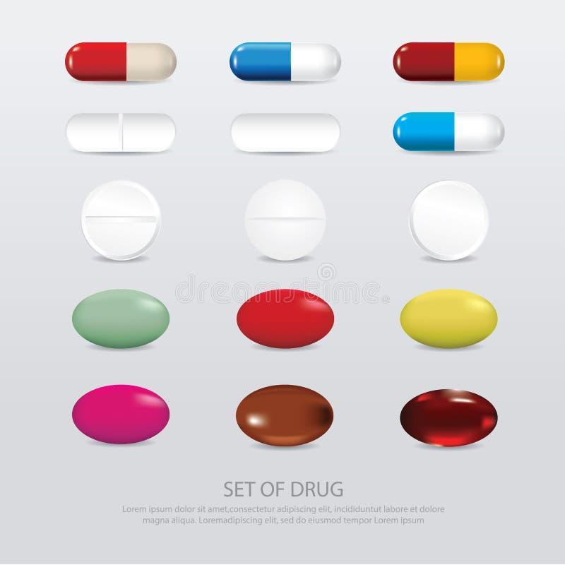 Ensemble de drogue réaliste illustration libre de droits