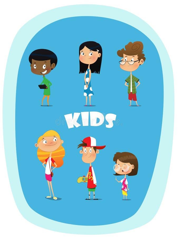 Ensemble de 8 enfants heureux mignons de bande dessinée illustration libre de droits