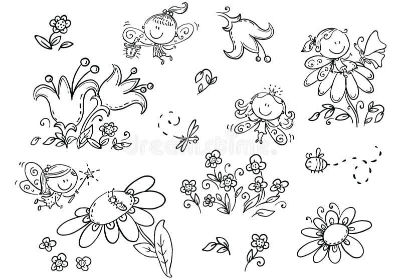 Ensemble de fées de bande dessinée, insectes, fleurs et éléments, noirs et blancs illustration libre de droits