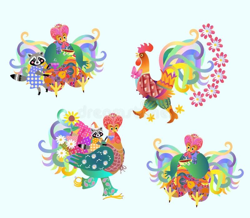 Ensemble de fête de vecteur de coqs et de ratons laveurs mignons, nouvelle année chinoise illustration de vecteur