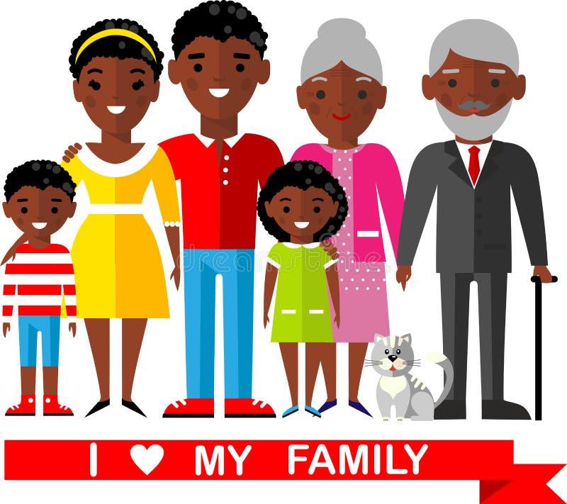 Ensemble de famille africaine, mariage, enceinte, vieux illustration stock