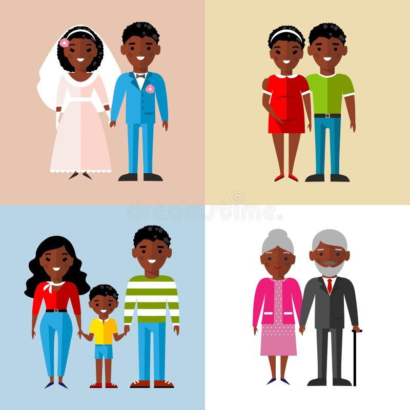 Ensemble de famille d'afro-américain, mariage, enceinte, vieux illustration libre de droits