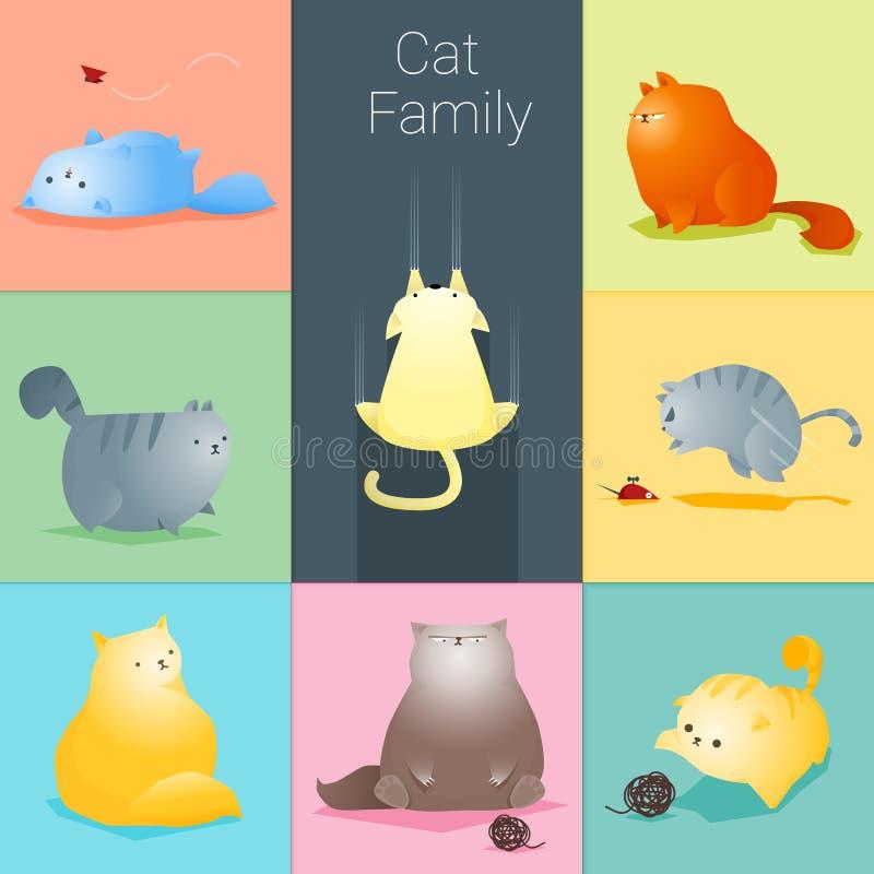 Ensemble de famille de chat illustration stock