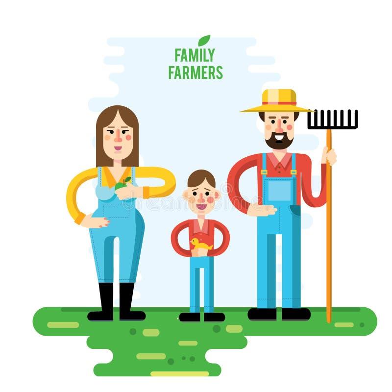 Ensemble de famille de jardinier de photos, jardin, illustration de vecteur