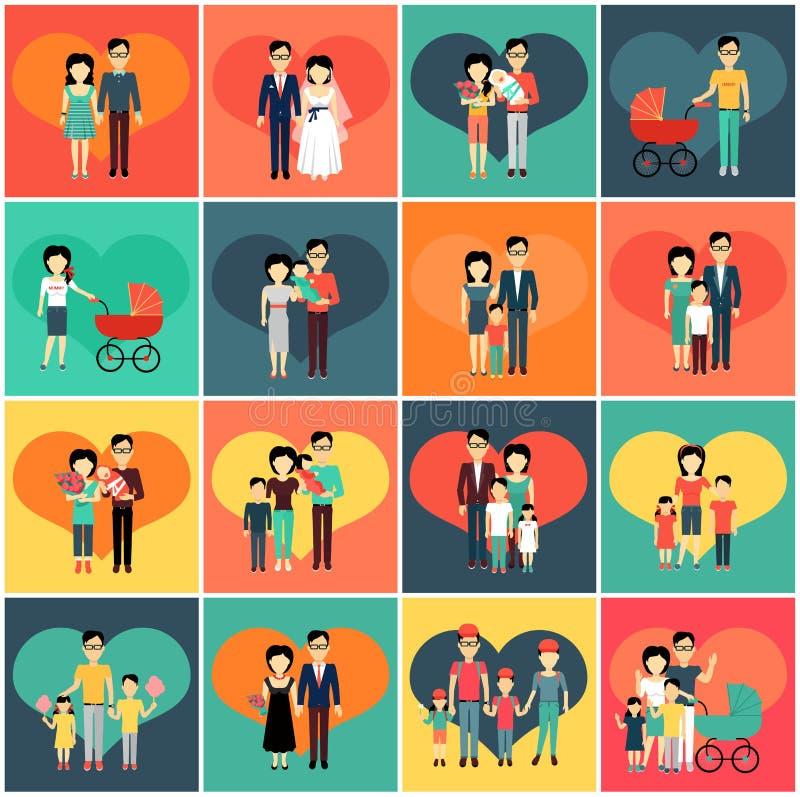 Ensemble de famille Femme et enfant d'homme illustration libre de droits