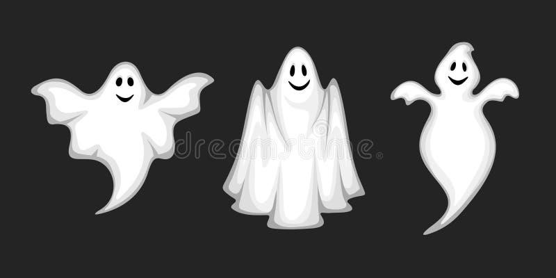 Ensemble de fantômes sur le noir Illustration de vecteur illustration de vecteur