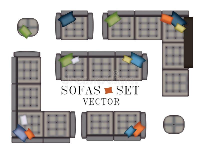Ensemble de fauteuil de sofas Vue supérieure Meubles avec piquer, pouf, oreillers pour votre conception intérieure Illustration p illustration de vecteur