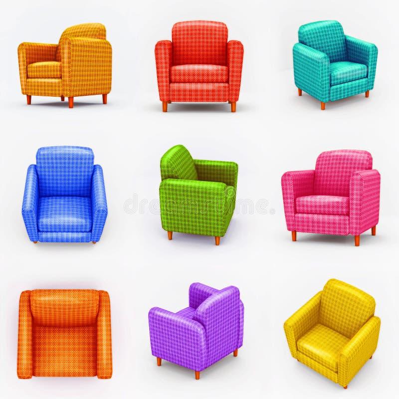 Ensemble de fauteuils colorés sur le fond blanc illustration stock