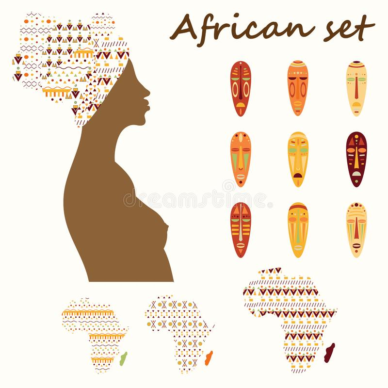 Ensemble de femme africaine colorée d'ethnick, masques, continent avec l'ornement tribal illustration libre de droits