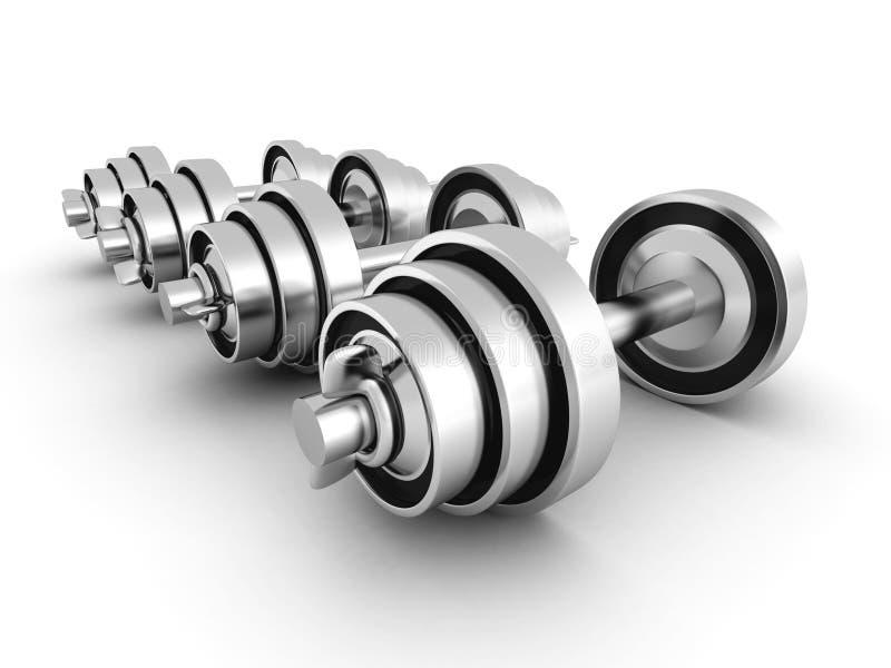 Ensemble de fer lourd Dumbells métallique sur le fond blanc illustration de vecteur