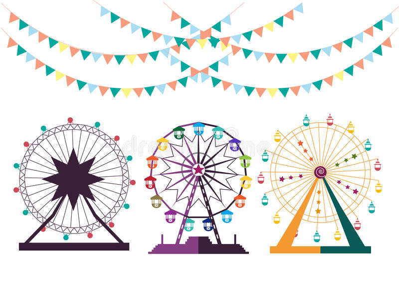 Ensemble de Ferris Wheel de parc d'attractions, illustrations illustration libre de droits