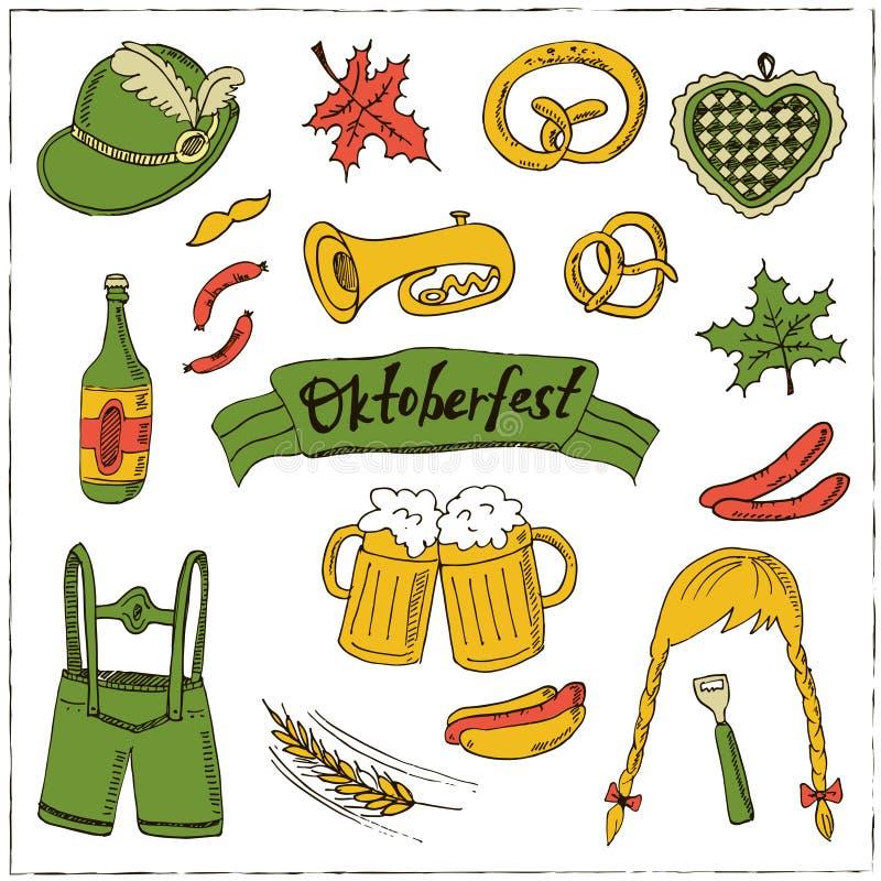 Ensemble de fest d'octobre Illustration de vintage pour l'identité, la conception, la décoration, le produit de paquets et la déc illustration de vecteur