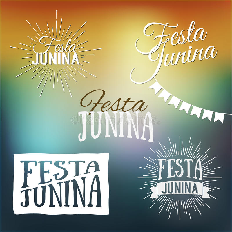 Ensemble de Festa Junina de logos, d'emblèmes et de labels - Braz traditionnel illustration stock