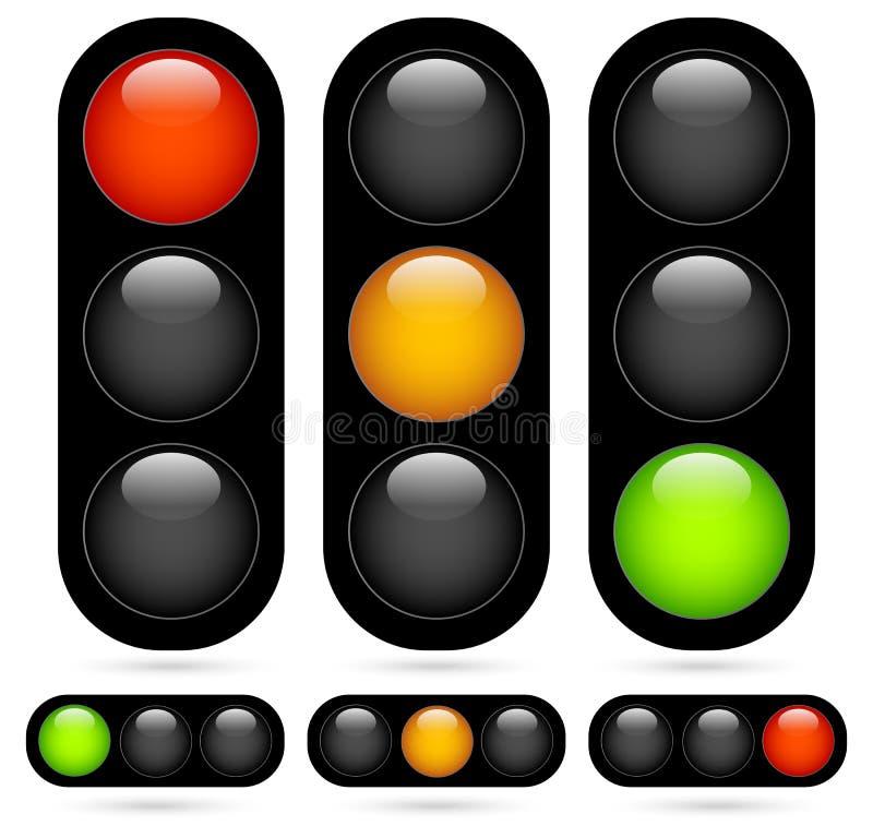 Ensemble de feu de signalisation/lampe du trafic Illustration de vecteur illustration libre de droits