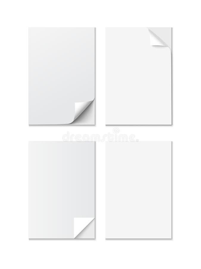 Ensemble de feuille blanche de papier de la taille A4 avec différents coins courbés, vecteur réaliste illustration de vecteur