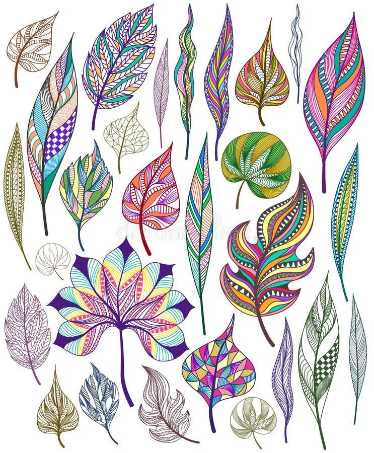 Ensemble de feuilles abstraites colorées Vecteur illustration stock