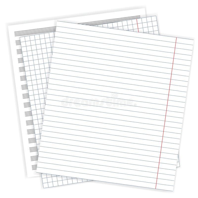 Ensemble de feuilles d'un carnet, illustration de vecteur