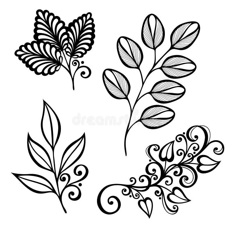 Ensemble de feuilles de Deco illustration stock