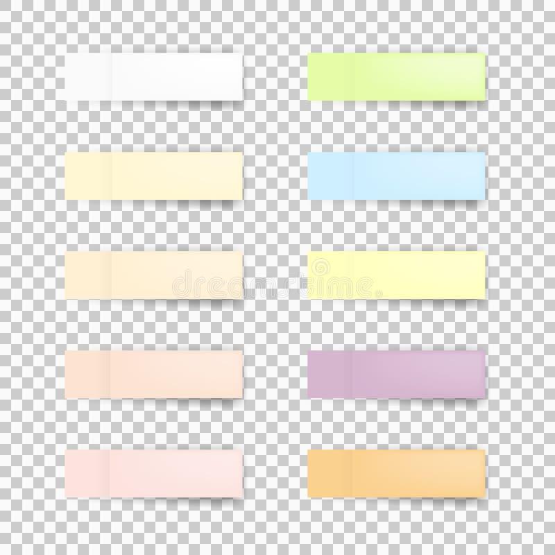 Ensemble de feuilles de papier de bureau ou d'autocollants collants avec l'ombre sur un fond transparent Illustration de vecteur  illustration libre de droits