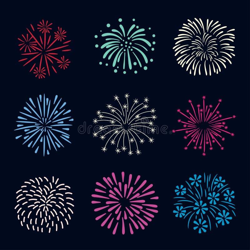 Ensemble de feux d'artifice tirés par la main colorés sur le fond foncé illustration stock