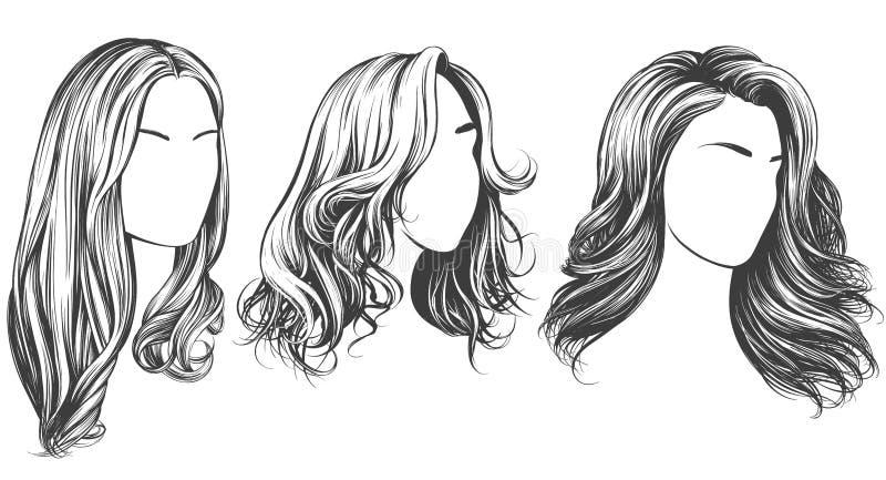 Ensemble de fille, beau visage de femme, fille avec le croquis tir? par la main d'illustration de vecteur de beaux cheveux illustration de vecteur