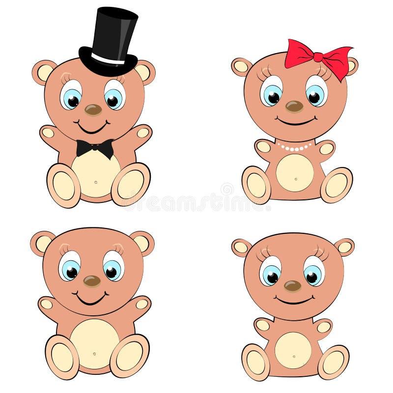 Ensemble de fille de quatre mignons, beaux, bruns ours et de garçon avec la grands tête et yeux bleus en collier o de cylindre et illustration libre de droits