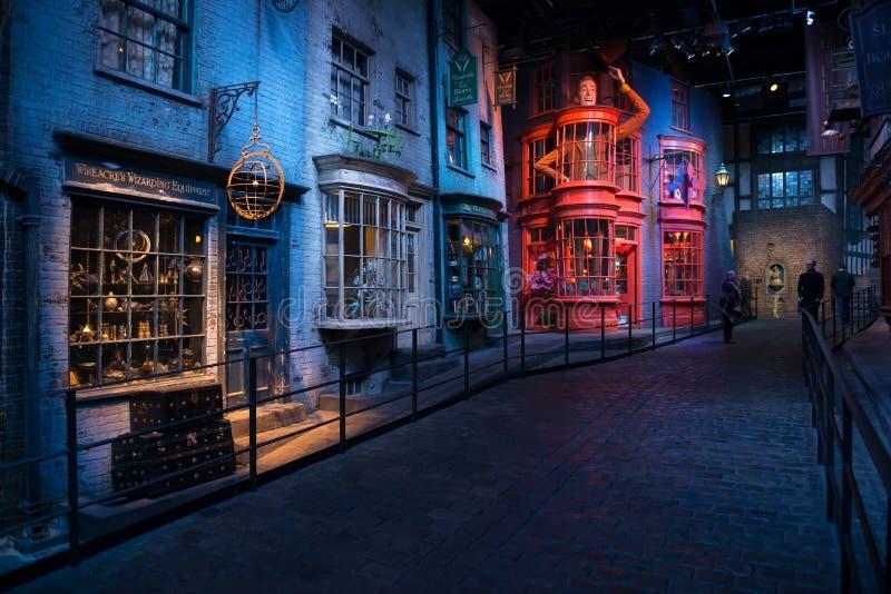 Ensemble de film de Harry Potter, allée de Diagon photos libres de droits