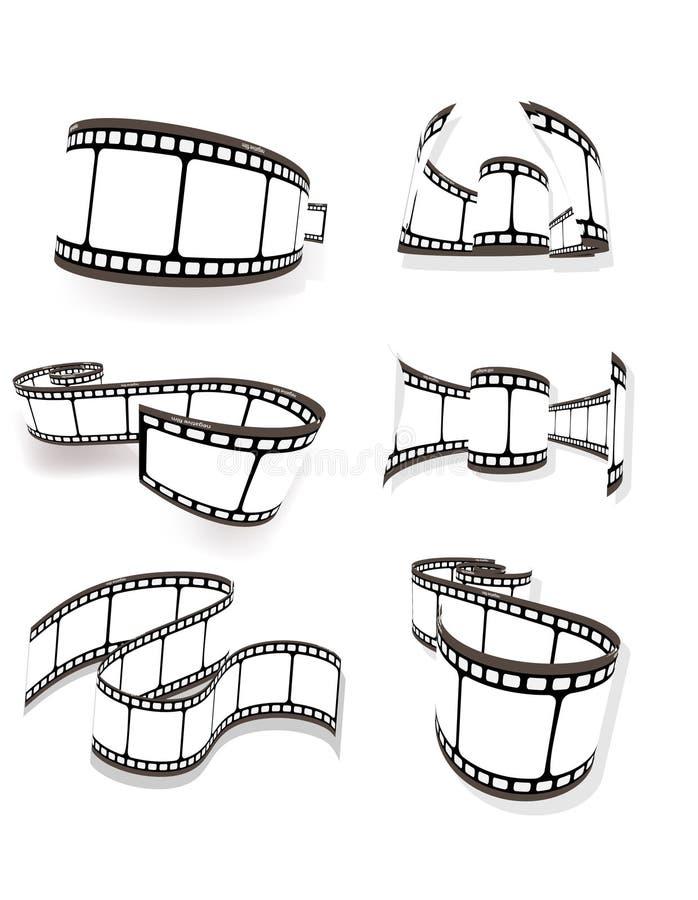ensemble de film photographique incurvé illustration stock