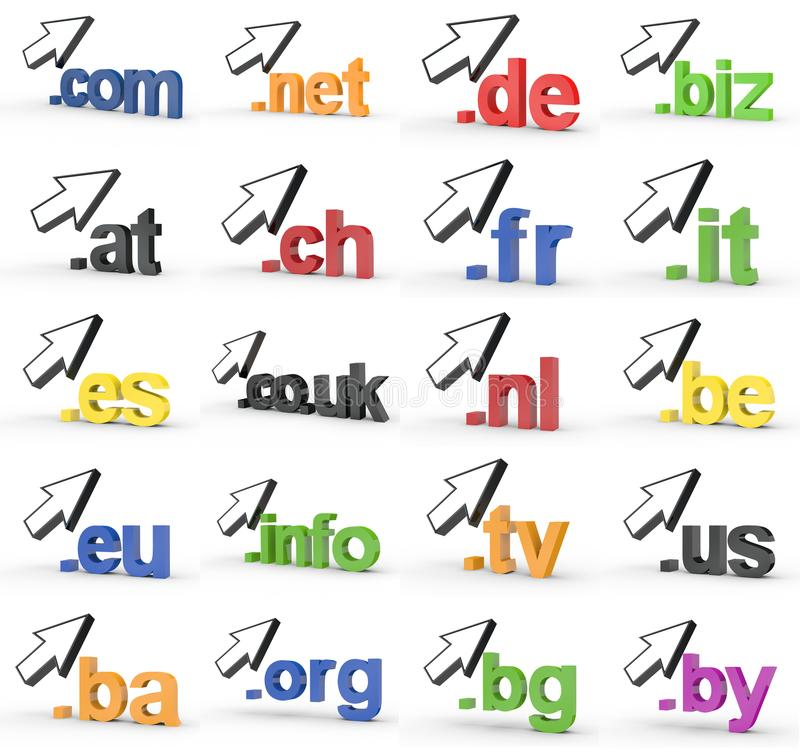 Ensemble de fins d'adresse de Domain Name de site Web avec la flèche image libre de droits